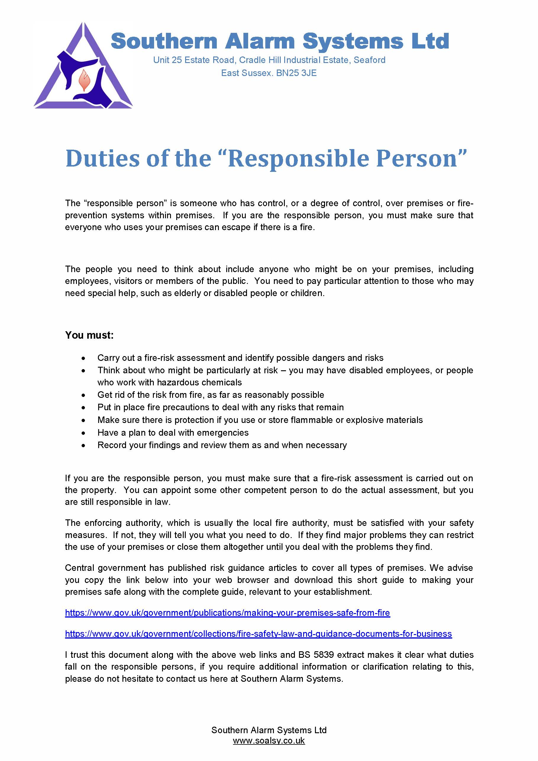 Duties of the Responsible Person